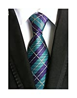 MINDENG New Classic Plaids Check Baby Blue Jacquard Woven Silk Men's Tie Necktie