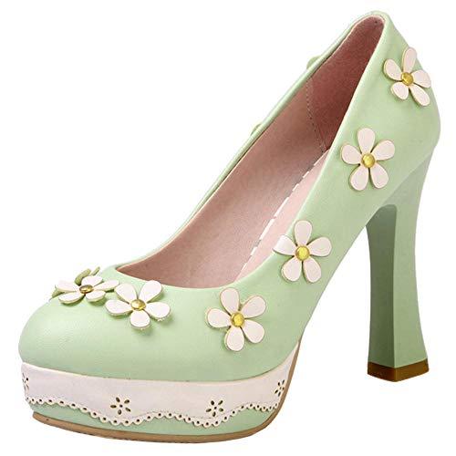 Cordones Alto Sin Coolcept Moda Zapatos Verde Bombas Tacón Mujer wC070xqR