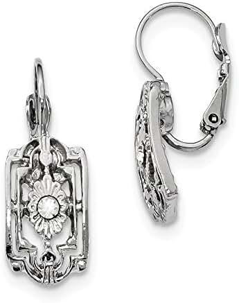 Silver-tone Crystal Flower Rectangle Leverback Earrings