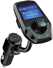 """VICTSING Manos Libres Bluetooth Coche Transmisor FM, Radio Musica Receptor Altavoz Bluetooth FM, Reproductor de MP3 Transmitter, 1.44"""" LCD, 5V/2.1A USB, Tarjeta del TF-Negro"""