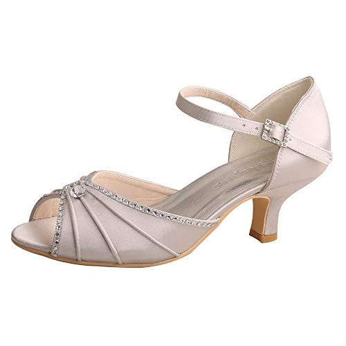 (Wedopus MW033B Women's Peep Toe Mary Jane Low Heel Pleated Rhinestones Satin Wedding Prom Shoes Size 11 Grey )