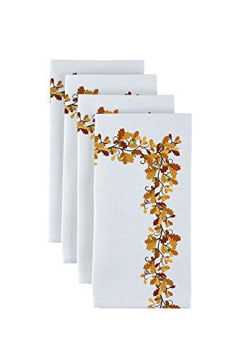 (Fabric Textile Products Fall Foliage Border Napkins 18