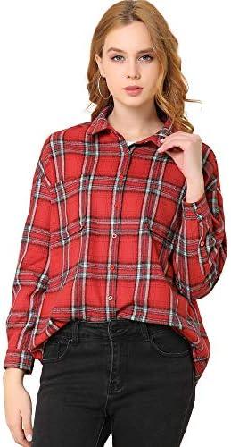 Allegra K - Camisa de franela con botones para mujer