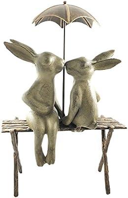 "Bunny Lovers Garden Sculpture Rabbits On Bench Under Umbrella Statue 19/""H"