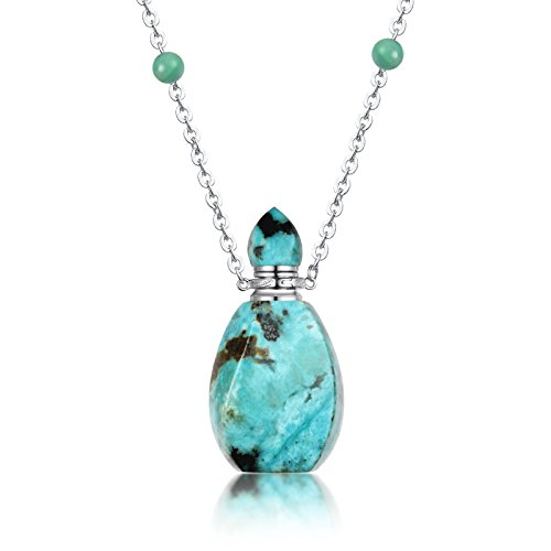 Generic Africa's_ natural _oil_bottles_ necklace Pendant s_Phoenix_ turquoise _patent_high-end_perfume_bottles pure 925 Silver necklace Pendant gift sweater (Sier Oil)