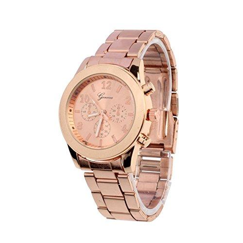 NXDA Geneva Ladies Women Girl Unisex Stainless Steel Quartz Wrist Watch (Rose Gold)