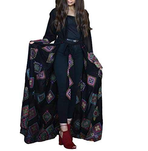 Filistini Women's Embroidered Long Sleeve Georgette Lightweight Maxi Sheer Duster Cardigan Kimono (Small, Scattered) ()
