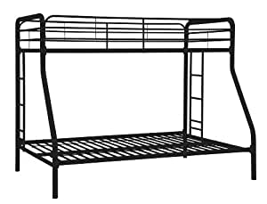 DHP Twin-Over-Full Bunk Bed with Metal Frame and Ladder (Black)