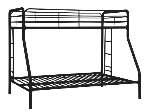 Bunk Bed - DHP Twin-Over-Full Bunk Bed with Metal Frame and Ladder, Space-Saving Design, Black