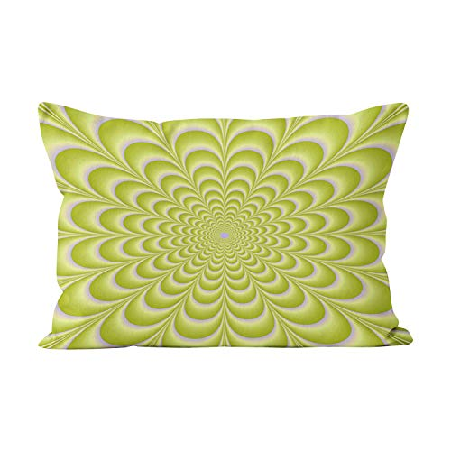 (Wesbin Lime Green and Violet Rosette Beauty Hidden Zipper Home Decorative Rectangle Throw Pillow Cover Cushion Case Inch 12x20 Boudoir One Side Design Printed Pillowcase)