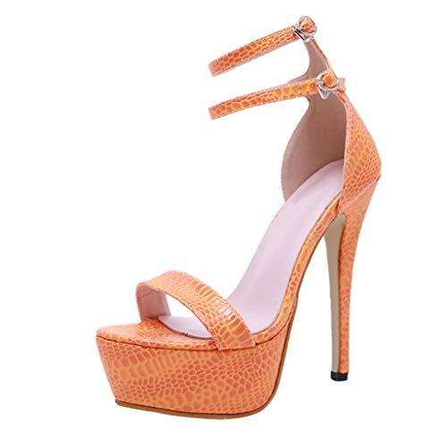 Cenglings Women's Sexy Open Toe Crocodile Pattern Stiletto Heel Pumps Nightclub Ankle Strap Shallow Platform Sandals Orange