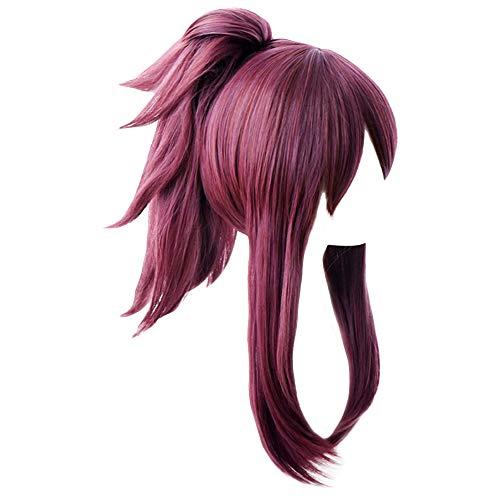 Shancon KDA Akali Cosplay Wig Long Deep Purple Curly Women Party Hair Ponytail Halloween