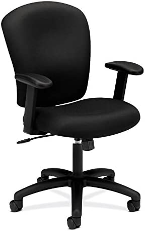 HON HVL220.VA10 Mid Back Task Chair – Fabric Computer Chair with Arms for Office Desk, Black HVL220