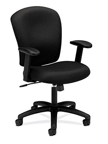 HON HVL220.VA10 Mid Back Task Chair - Fabric Computer Chair with Arms for Office Desk, Black -