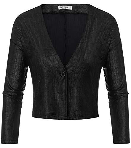 Womens Long Sleeve Bolero Shrugs Button Down Cropped Cardigans Black S ()