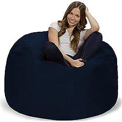 Chill Sack Bean Bag Chair: Giant 4' Memory Foam Furniture Bean Bag - Big Sofa Soft Micro Fiber Cover - Navy