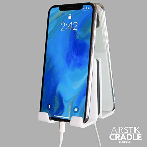 AIRstik Selfie Phone Tablet Holder Cradle Mount Mirror Reusable Micro suction- WHITE