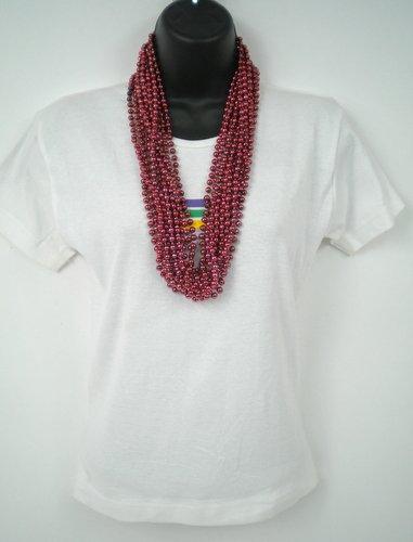 33 inch 07mm Round Metallic Burgundy Mardi Gras Beads - 6 Dozen (72 necklaces)