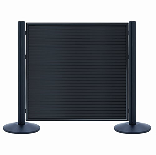 Lavi Industries 50-BD02/WB Double-Sided Slatwall Retail 3-Piece Merchandising Kit with Beltrac Posts, 4' x 4', Black Aluminum Beltrac Post