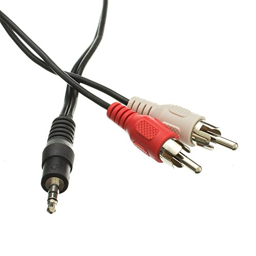 3.5mm Stereo to RCA Audio Cable, 3.5mm Stereo Male to Dual RCA Male (Right and Left), 50 foot - Metal Braided Male Splitter Fiber Converter Amplifier RCA Connector Wire 3' Sonicwave Rca Audio