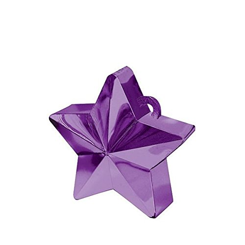 Wishing Star Electroplated Balloon Weight Party Decoration, Purple, Plastic Foil, 6.0 Ounces
