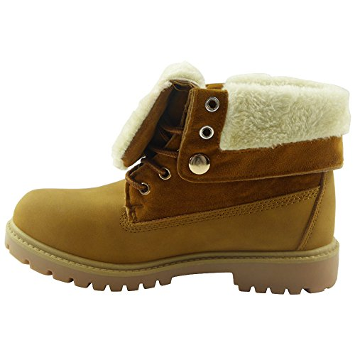 Womens Ladies Lace Up Low Cuban Heel Grip Sole Ankle Fur Lining Boots Shoes Size 3-8 Honey siQpSr