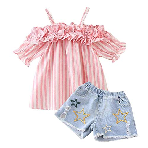 VEFSU Toddle Toddler Kids Baby Girls Outfits Clothes Ruched Stripe Pleated T-Shirt+Denim Shorts Set Pink 110cm -