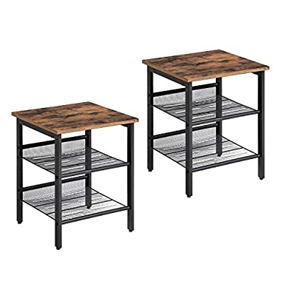 VASAGLE Industrial Nightstand, Set of 2 Side Tables, End Tables with Adjustable Mesh Shelves, for Living Room, Bedroom, Stable Metal Frame and Easy Assembly ULET24X - AN URBAN TOUCH: Practical, linear and yet still chic. The industrial look of the black steel frame is complemented by the rustic top of the side tables, creating an exciting mix of styles; this charming set fits in the living room next to your sofa or functions as a functional pair of bedside tables FLAT OR SLANTED, YOU CHOOSE: Each end table has two sturdy mesh shelves, both of which you can attach either flat or slightly slanted to properly position magazines, books or a variety of other items on them A STRONG COMBINATION: The robust steel frame of the side tables and the rustic-style particleboard form a high-quality combination that can hold up to 44 lb - living-room-furniture, living-room, end-tables - 4174kyDAjZL. SS400  -
