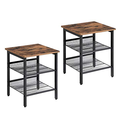 VASAGLE Industrial Nightstand, Set of 2 Side Tables, End Tables with Adjustable Mesh Shelves, for Living Room, Bedroom, Stable Metal Frame and Easy Assembly ULET24X (Wood Table Bedside)