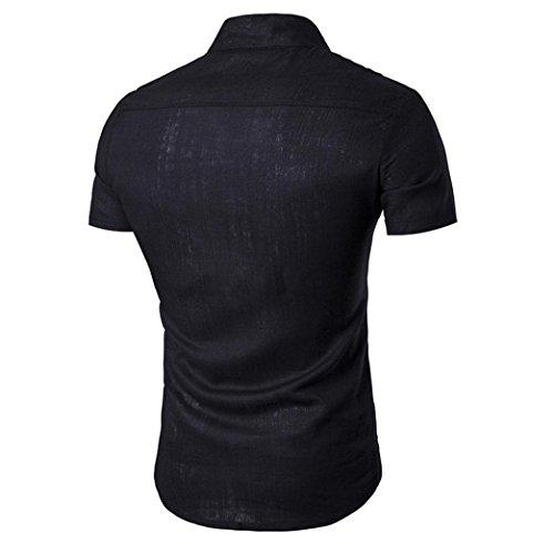 Look Taille Blouse Manches À Masculine Chemises Haut Noir Mode Pure Hommes Courtes Chemise Lin Col Couleur Lche S Montant Quotidien Casual En Adeshop 2xl Bouton Tops 81q6xwx
