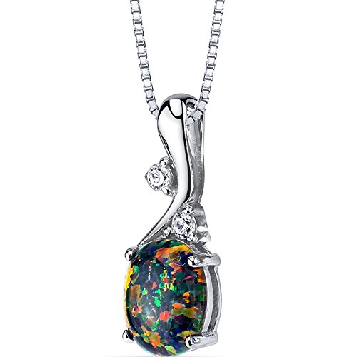 Created Black Opal Posy Pendant Necklace Sterling Silver 1.75 Carats