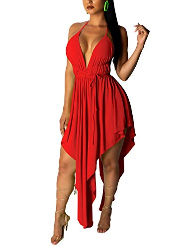 Womens Sexy Cute Outfit - Halter V Neck Sleeveless Tanks Topd Tie Up Loose Hi Low Fancy Dress Sundress Red XL