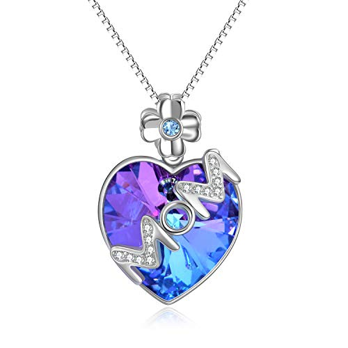 AOBOCO S925 Sterling Silver Heart Necklace Vitrail Light Pendant MOM Necklace with Swarovski Crystal,Christmas Mom Gifts for - Pendant Question Swarovski Flower About