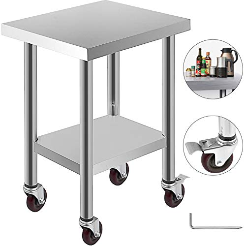 Mophorn 24x18 Inch Stainless Steel Work Table 3 Stage Adjustable Shelf with 4 Wheels Heavy Duty Commercial Food Prep Worktable with Brake