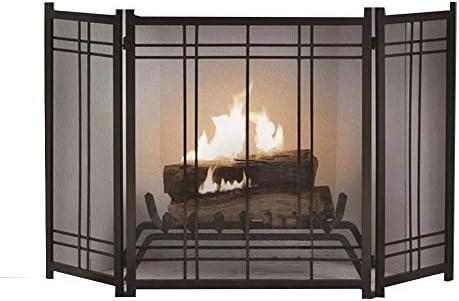YYR ブラック暖炉クラシックスクリーン自立スパークガード、ヘビーデューティメタルメッシュソリッドベビー安全暖炉フェンス70×30×82センチメートル