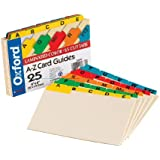 """Oxford Index Card Guides with Laminated Tabs, Alphabetical, A-Z, Assorted Colors, 4"""" x 6"""" Size, 25 Guides per Set (4635)"""