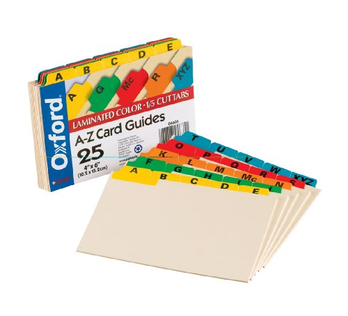 Oxford Index Card Guides with Laminated Tabs, Alphabetical, A-Z, Assorted Colors, 4