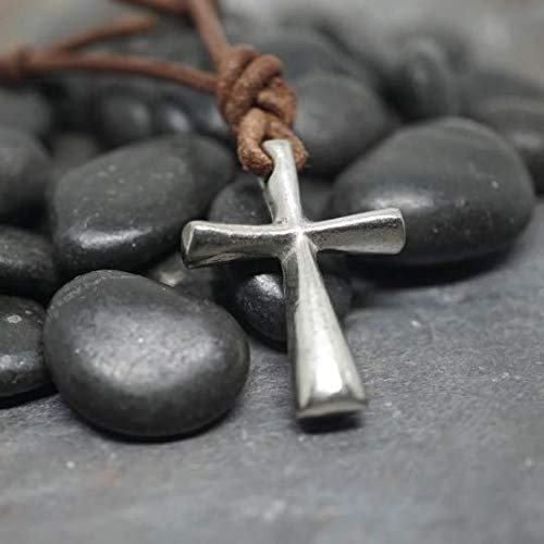 Surfer Necklace Cross on Distressed Leather Cord Surf Jewelry Abercrombie Fitch style Active