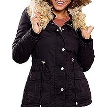 YMI New Outerwear Winter Fur Lining Black Cotton Anorak Drawstring Jacket Hoodie Coats