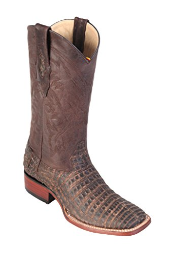 Brown Leather Altos Boots Belly Skin Los Wide Grasso Genuine Toe Western Square Caiman Men's O6YqFwS