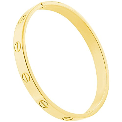 Inspired Gold Plated - Designer Inspired Gold Plated Cuff Bracelet Hinged Bangle for Women Oval Fits 7.5 Inch Wrists
