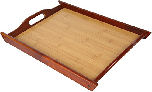 Wood Food Serving Tray with Double Handles - For Breakfast in Bed, Party Service, and More - Brown / Tan - 17 x 12 inches