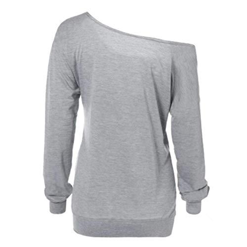 Redondo Tamaño C Impresa Y Mujer Larga Grey color Cuello Zhrui Con Medium Para Blusas Blusas Manga Camiseta De Negro zUnBqAZ