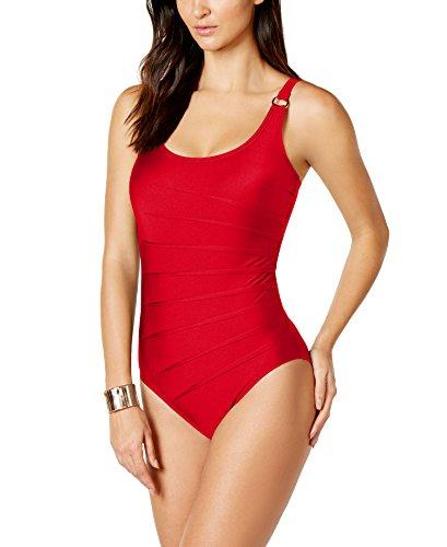 (Calvin Klein Women's Starburst One-Piece Swimsuit (16, Red))