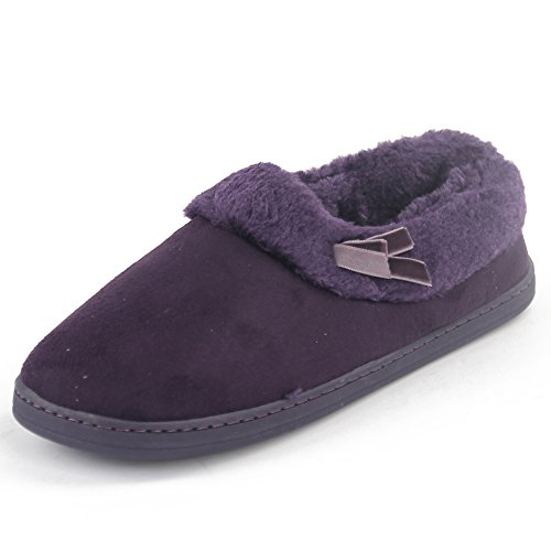 Gohom Women's Suede Slipper Purple US Size 9/10