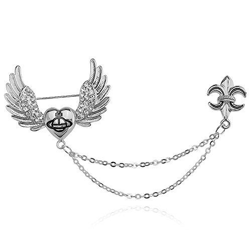 DMI Lovely Jewelry Rhinestone Fly Heart Shape Chain Brooch Pin Silver-Tone ()