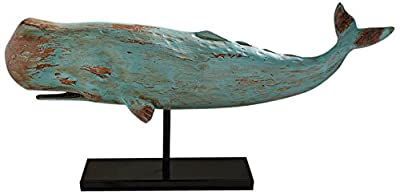 Design Toscano Folk Art Faux Wood Whale Statue on Display Stand, 30 Inch, Polyresin, Blue