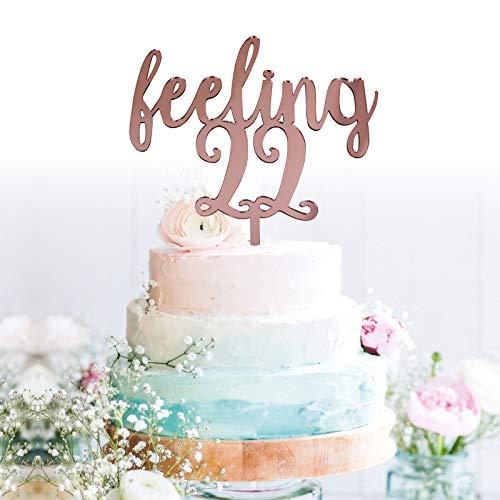GrantParty Feeling 22 Rose Gold Cake Topper | 22nd Birthday Anniversary Wedding Party Decoration Ideas| Perfect Keepsake (Twenty-Two Rose Gold) -