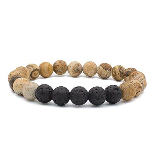 Bivei Lava Rock Stone Essential Oil Diffuser Bracelet - Natural Semi Precious Gemstone Beads Healing Crystal Bracelet(Picture Jasper)