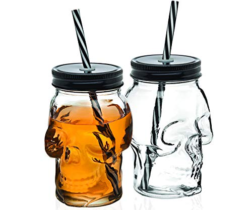 Skull Mason Jar Mug Glass Tumbler Cup with Cover and Straw - 16oz, Set of 2 by Studio by Godinger
